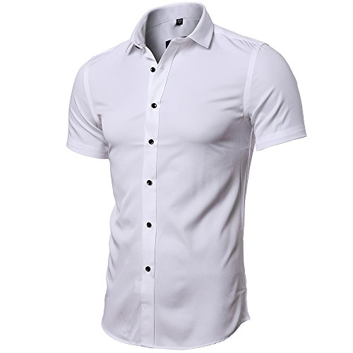 7edfa741320d FLY HAWK Men No Iron Slim Fit Dress Shirts Bamboo Fiber Short Sleeve  Elastic Casual Shirt