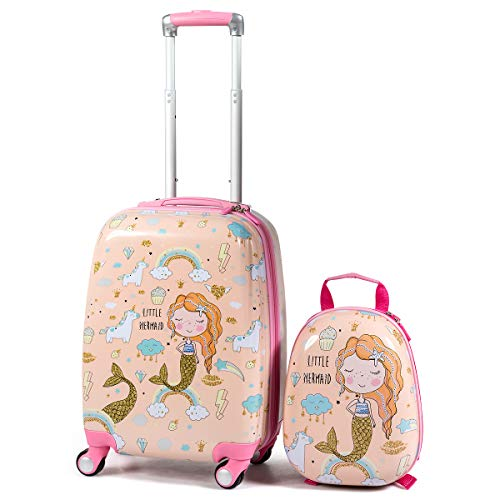 GYMAX 2Pc Kid Carry On Luggage Set, 12' & 18' Kids Suitcase with 4 Spinner Wheels, Travel Rolling Trolley for Boys and Girls, Gift for Toddlers Children (Mermaid)