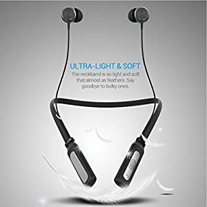 Bluetooth Headphones, Wireless Bluetooth Headset Neckband V4.1 Magnetic Design Wireless Earbuds In Ear with Microphone Sport Running Headphones Noise Cancelling (Black)