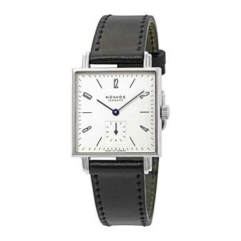 Nomos Tetra White Dial Black Leather Ladies Watch 408