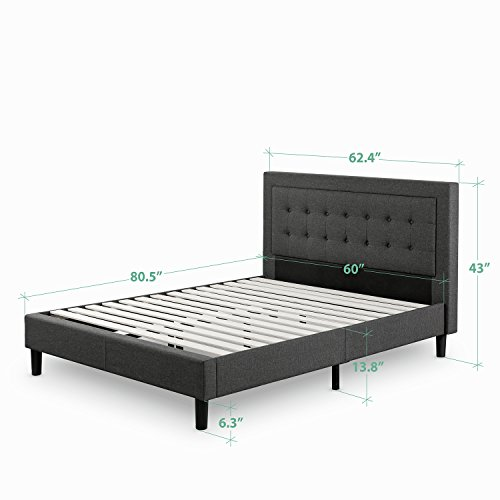 Zinus Dachelle Upholstered Button Tufted Premium Platform Bed / Strong Wood Slat Support / Dark Grey, Queen