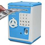 Welltop ATM Piggy Bank Code Electronic Mini Fingerprint Password Lock Coin Box Dollars Paper Cash Auto Scroll Money Saving Bank with Smart Voice Prompt, Money Piggy Box Fun Toy Gift for Kids Children