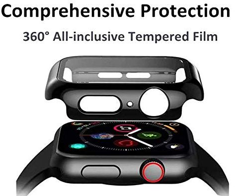 JVCV-360-Full-Screen-Protector-PC-Hard-Case-with-Tempered-Glass-for-Apple-Watch-Series-4-5-44-mm-Black