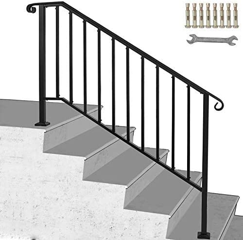Happybuy Handrail Picket 4 Fits 4 Or 5 Steps Matte Black Stair | Outside Stair Railing Installation | Rail | Simple | Staircase | Back Porch | Sunroom