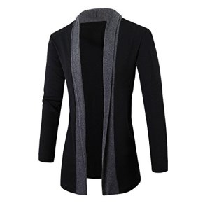 G-Real Stylish Men Fashion Long Sleeve Draped Lightweight Open Front Shawl Collar Longline Cardigan
