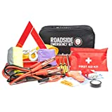 WNG Brands Roadside Assistance Emergency Car Kit - First Aid Kit, Jumper Cables, Tow Strap, LED Flash Light, Safety Vest & More Ideal Winter Survival Pack Accessory for Your Car, Truck Or SUV