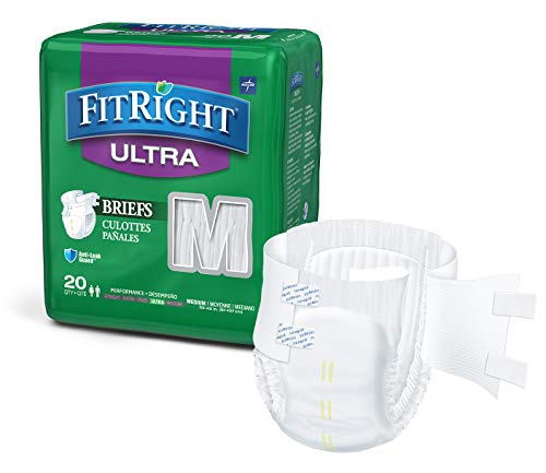 FitRight Ultra Adult Diapers, Disposable Incontinence Briefs with Tabs, Heavy Absorbency, Medium, 32'-42', 4 packs of 20 (80 total)