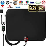 [2019 Latest] Amplified HD Digital TV Antenna Long 65-80 Miles Range - Support 4K 1080p & All Older TV's Indoor Powerful HDTV Amplifier Signal Booster - 18ft Coax Cable/USB Power Adapter