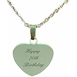 Happy 70Th Birthday, Heart Pendant Personalised