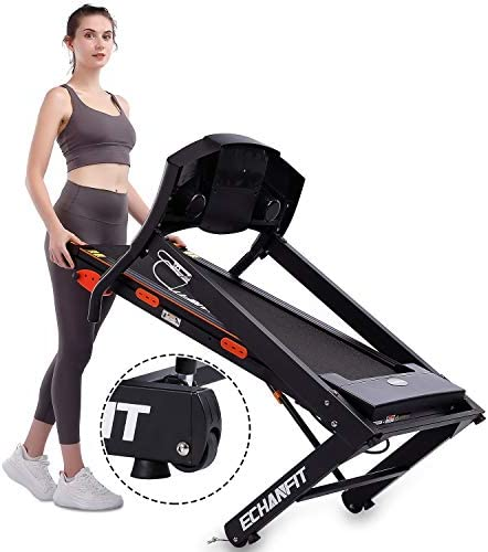 ECHANFIT Folding Treadmill Home Electric Motorized Running Machine with 17''Wide Tread Belt LCD Display 15 Preset Programs 8.5 MPH Max Speed and Cup Holder Easy Assembly 7
