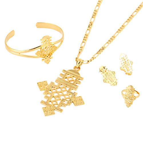 24k gold plated cross pendant ring earring bangle jewelry set 24k gold plated cross pendant aloadofball Image collections