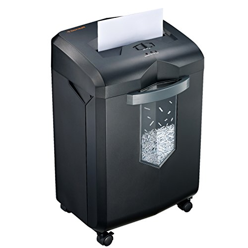 Bonsaii-18-Sheet-Heavy-Duty-EverShred-C149-C-Cross-Cut-Paper-and-Credit-Card-Shredder-60-Minutes-Running-Time-6-Gallon-Pullout-Basket-and-4-Casters-Black