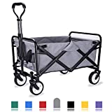 Whitsunday Collapsible Folding Garden Outdoor Park Utility Wagon Picnic Camping Cart with Replaceable Cover...