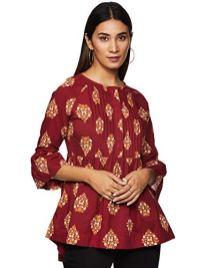 Amazon-Brand-Myx-Womens-Cotton-a-line-Short-Kurti