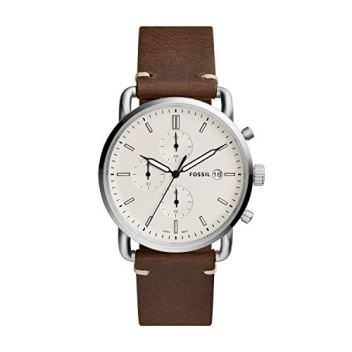 Fossil Men's The Commuter Quartz Chronograph Leather Watch, Color: Silver, Brown, 22 (Model: FS5402)