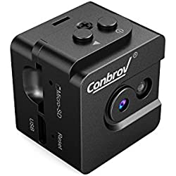 Mini Camera-Conbrov T16 720P Portable Small Body Cam with Night Vision, Perfect Indoor Security Camera for Home and Office