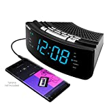 Nelsonic AM/FM Clock Radio - Built in Aux Cord - 10 FM and 10 AM Preset Station Choices - Wake to Music - Dual Alarm and Large Blue LED Display