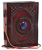 Embossed Leather Blue Stone 120 Page Unlined Journal with Clasp