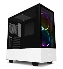 NZXT H510 Elite - Premium Mid-Tower ATX Case PC Gaming Case - Dual-Tempered Glass Panel - Front I/O USB Type-C Port - Vertical GPU Mount - Integrated RGB Lighting - Water-Cooling Ready - White/Black