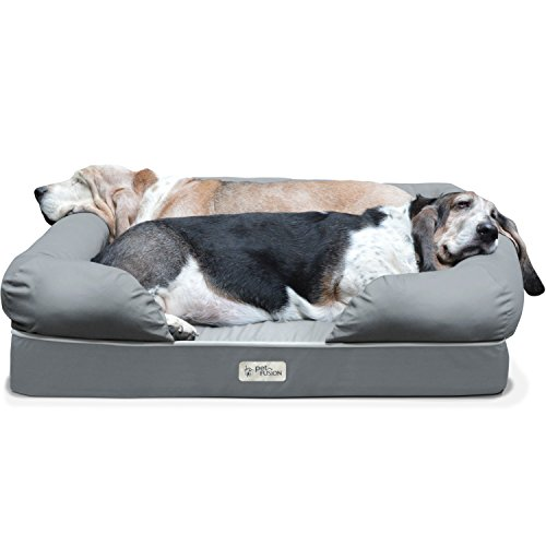 PetFusion Large Dog Bed w/Solid 4' Memory Foam, Waterproof liner, YKK premium zippers. [Multiple Sizes, Colors]. Breathable cotton blend, removable & easy to clean