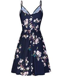 Womens V Neck-Floral-Spaghetti-Strap-Summer-Casual Swing Dress with Pocket