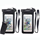 YUMQUA Universal Floating Waterproof Case with Armband,Waterproof Dry Bag Cell Phone Pouch for iPhone X 8 7 6S Plus,Galaxy S9 S8/J3 J7 Star Refine,Pixel 3 2,LG Moto ZTE Nokia Up to 6.2' - 2 Pack