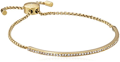 "41FYMqLKAqL Chain bracelet featuring pave-set crystals along front curve and sliding toggle charm Length: 7"" Imported"