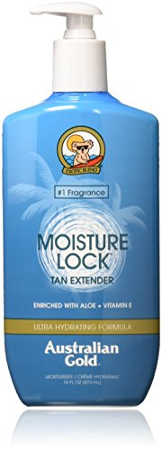 Australian Gold Moisture Lock Tan Extender Moisturizer Lotion, Nourish Skin, Lock in Color, Enriched with Aloe & Vitamin E, Reef Safe Moisturizer, Cruelty Free, 16 Ounce