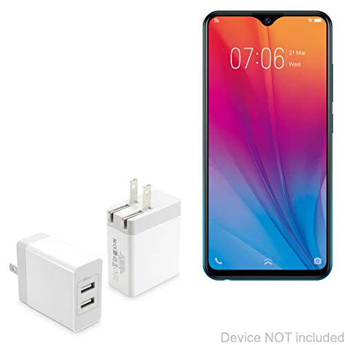 vivo Y91C Charger, BoxWave [Dual High Current Wall Charger] 2 USB Port Rapid Wall Charger for vivo Y91C - White