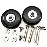 1 Pair Luggage Suitcase Replacement Wheels Axles 30 Deluxe Repair 50x18mm (Black)