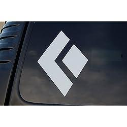 "Black Diamond Rock Climbing Sticker Vinyl Decal CHOOSE YOUR COLOR & SIZE!! Car Window Laptop Cell Phone (V349) (4"" X 3"", White)"