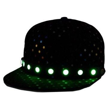 Locomo LED Flashlight Light Grow Rainbow Color Polka Dot Snapback Black FFH105