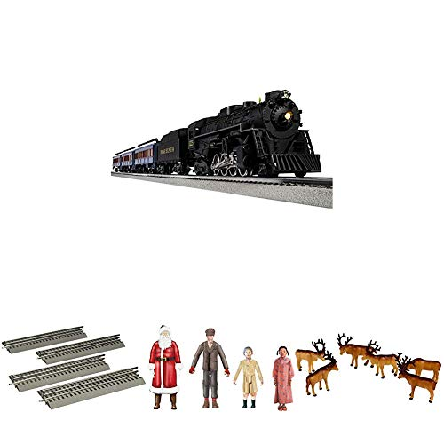 Lionel-The-Polar-Express-Electric-O-Gauge-Model-Train-Set-w-Remote-4-Additional-Pieces-of-10-Straight-Track-People-and-Caribou-Pack