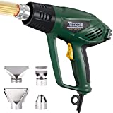 Heat Gun,TECCPO 1500W Electric Hot Air Gun with 2-Temp Mode 752℉~1022℉,4 Stainless Steel Accessories,Fast Heating In Seconds perfect for Shrinking PVC,Stripping Paint