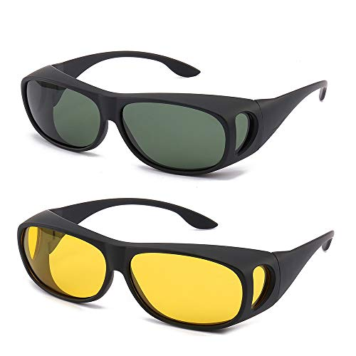 Gemgoo 2PCS Glasses Optic HD Night Day Vision Driving Wrap Around Anti Glare Sunglasses Fitover Glasses