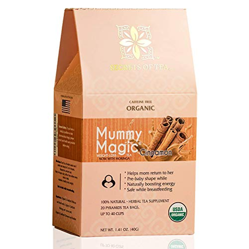 Mummy Magic Sweet Cinnamon & Moringa Detox Tea + 100% Organic + Supports Metabolism + Weight Loss for Women + Digestion with Rooibos Tea, 20 Biodegradable Sachets- Up to 40 Servings 1