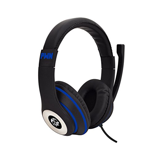 Audio Council PWN Gaming Headset with Stereo Over Ear Gamer Headphones, Adjustable Microphone, Inline Volume Control Mic PS4 PC WiiU Xbox Smartphones PC Tablets (Black/Blue)
