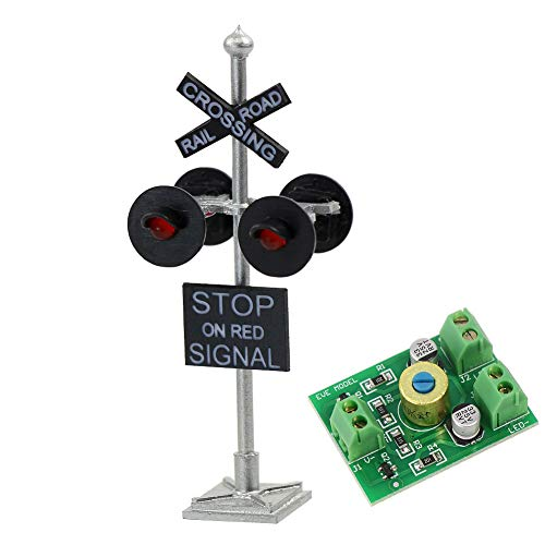 JTD876RP-1-Set-HO-Scale-Railroad-TrainTrack-Crossing-Sign-4-Heads-LED-Made-Circuit-Board-Flasher-Flashing-Red-Train-Signal-Lights-Decoration-and-Party
