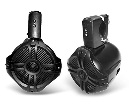 SDX Pro Audio - 6.5' 350W Fully Wireless Bluetooth Marine Speaker System (Pair) - Wakeboard Tower/Waketower and Fits Rollbar/Rollcage - Rechargeable, No Wiring/Cables Needed - No Receiver Needed