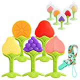 PandaEar Baby Training Massaging Toy Teether: 5-Pack Fruit Set & Nylon Loop | Soothes Gums Promotes Healthy Oral Development | Food Grade Soft Safe BPA-Free Silicone | Babies Toddlers Infants