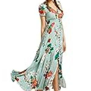 Milumia Women's Button Up Split Floral Print Flowy Party Maxi Dress X-Large Light Green