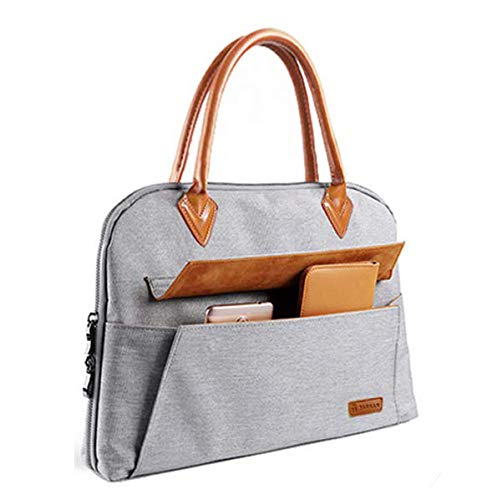 41G FYgLuXL - Tarkan 13.3 Inch Laptop Bag For Women, Multi Pockets Tote Handbag For Business & Travel (Grey & Brown)