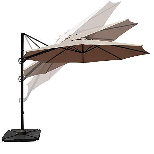 COBANA 10ft Cantilever Offset Patio Umbrella with Vertical Tilt and 360 Degree Rotation Function, Beige