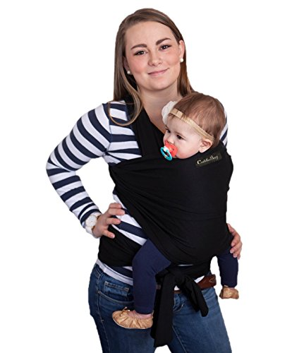 Baby Wrap - Ergo Baby Carrier by CuddleBug - Available in 9 Colors - Baby Sling, Baby Wrap Carrier, Nursing Cover and Baby Slings and Wraps for Infants and Newborn (Black)
