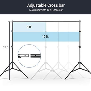 Limo-Studio-Photo-Video-Muslin-Backdrop-Support-Stands-Adjustable-10-ft-Wide-Cross-Bar-73-ft-Tall-Background-Stand-with-Carry-Bag-3pcs-Muslin-Clamp-and-4pcs-String-Clip-AGG3011