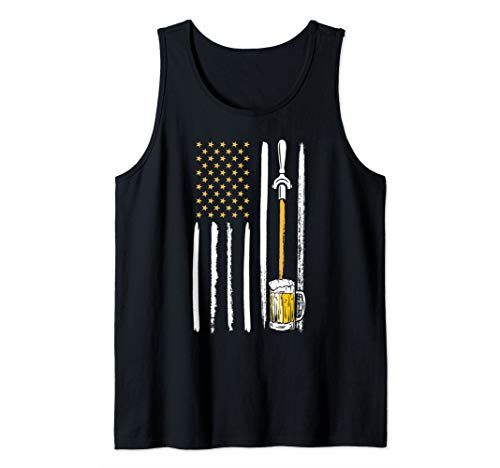 Craft Beer American Flag USA 4th July Alcohol Lovers Brewery Tank Top