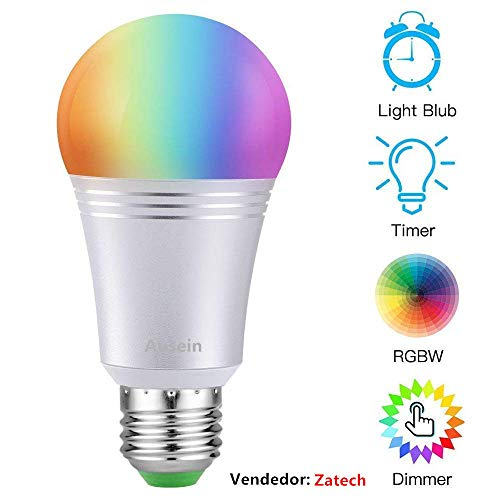 AUSEIN Bombilla LED Inteligente, WiFi Bombillas Inteligentes 6000K 7W Dimmable Smartphone de Color...