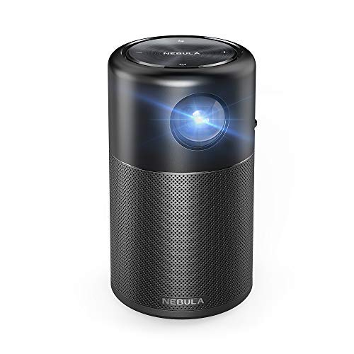 Nebula Capsule, by Anker, Smart Portable Wi-Fi Mini Projector, 100 ANSI lm Pocket Cinema, DLP, 360° Speaker, 100' Picture, 4-Hour Video Playtime, and App—Watch Anywhere with Friends and Family