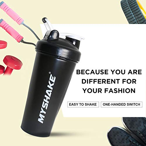 Myshake Classic Protein Shaker Bottle for Gym with Silicon Flip 600 ml - (Black) 5