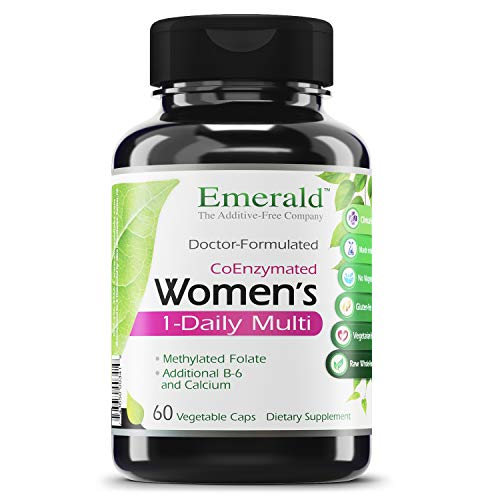 Women's 1-Daily Multi - Complete Daily Multivitamin with CoEnzymes + Vitamin B6 & Calcium - Supports Adrenal Function, Energy Boost, Hormonal Support - Emerald Labs - 60 Vegetable Capsules